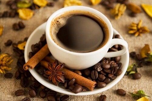 Kop kaffe med kanelstaenger