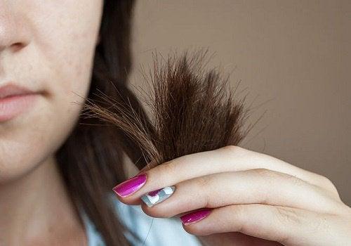 Kvinde der holder spidserne af sit haar