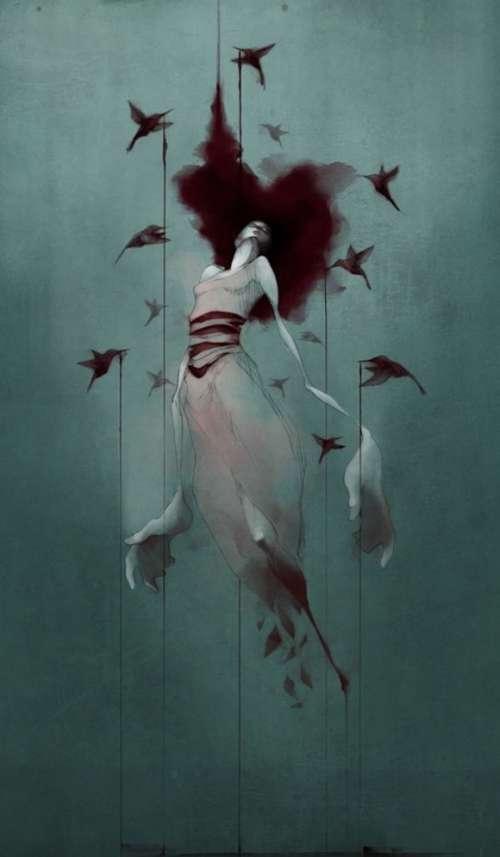 Kvinde og fugle