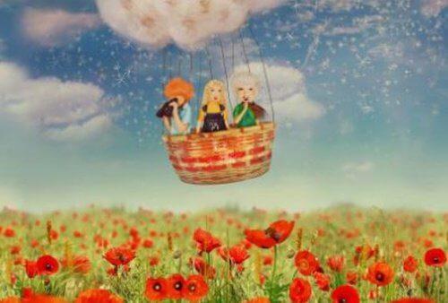 3 venner i en luftballon