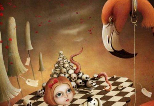 En tegning med kranier og et dukkehoved