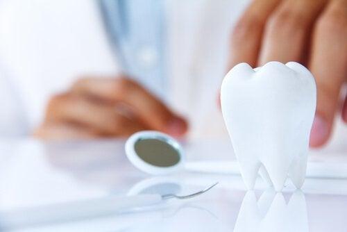 En tand på et bord