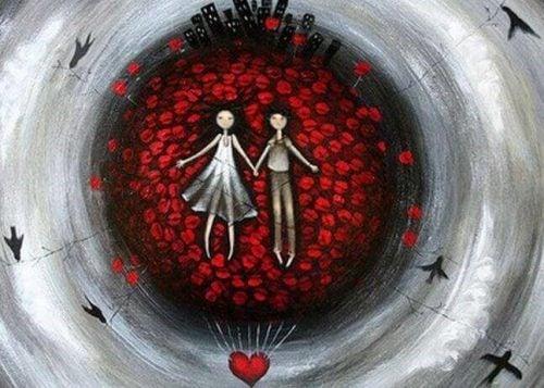 To personer der ligger paa roser