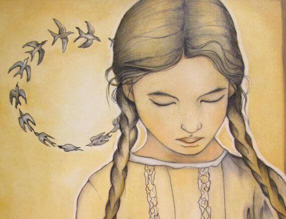 Trist lille pige med fugle