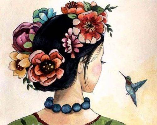 Malleri af kvinde og kolibri