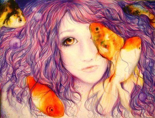 Kvinde med guldfisk