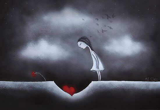 Kvinde der kigger ned i et hul med et hjerte