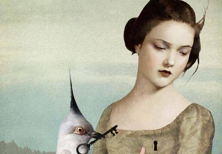 Kvinde der kigger vaek mens en fugl har en noegle