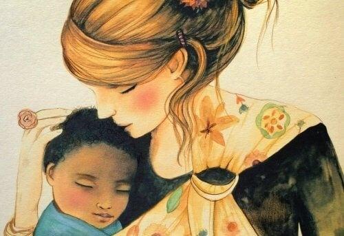 Mor der kysser sit barn