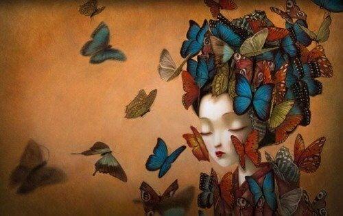 Pige med sommerfugle - positivt selvvaerd