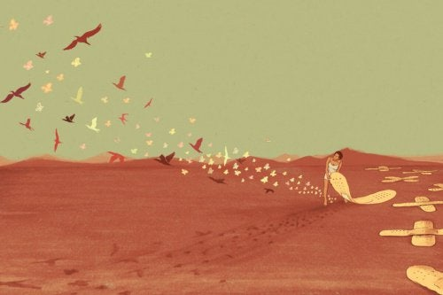 Fugle, en person og plastre