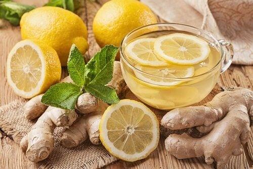 Citron og ingefaer te
