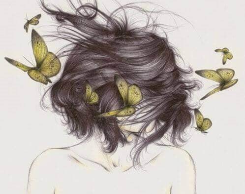 Pige med sommerfugle i haaret