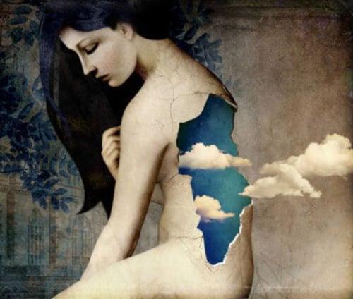 Billede af kvinde der har hul i ryggen og skyer der kommer ud