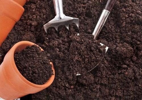 Haveredskaber og jord