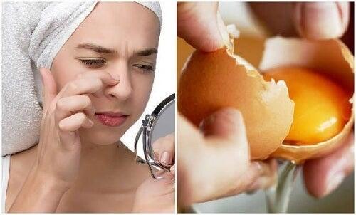 Maske af æg til at rense og opstramme huden