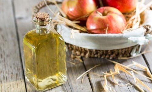 En lille flaske æblecidereddike.