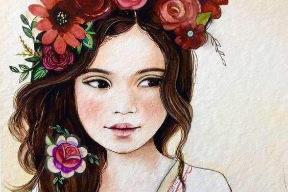 Pige med blomster i haaret