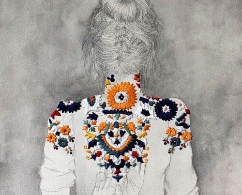 Maleri med kvinde der har en jakke