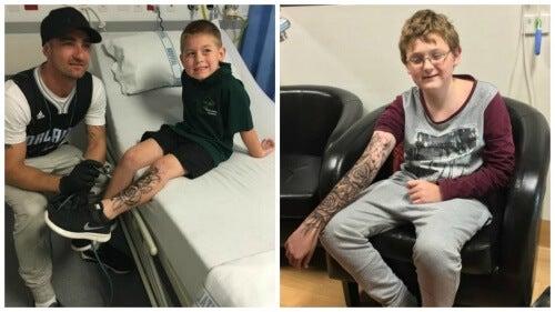 Mand giver syge børn midlertidige tatoveringer for styrke