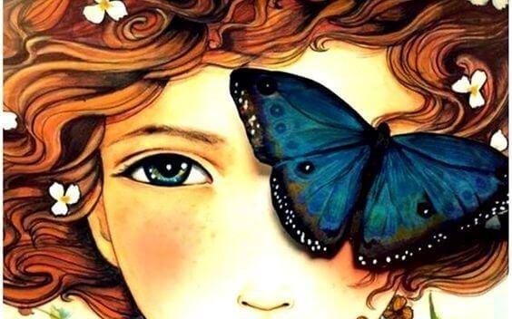 Pige med sommerfugl for oejet
