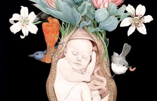 Baby og lidt blomster og fugle