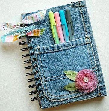 Notesbog med jeans omslag
