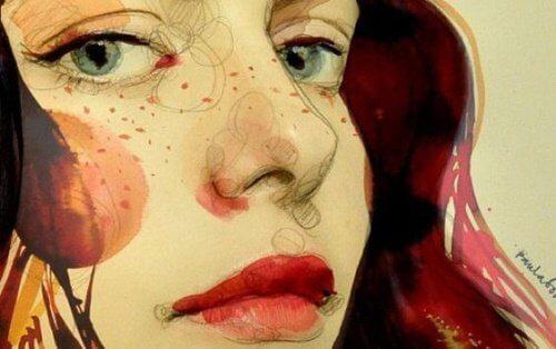 Tegning af en kvindes ansigt