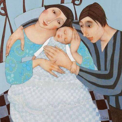 Nye foraeldre og baby