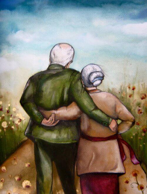 Gammelt par der holder om hinanden
