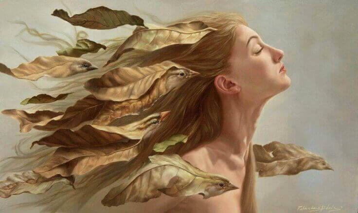Kvinde og blade og fugle