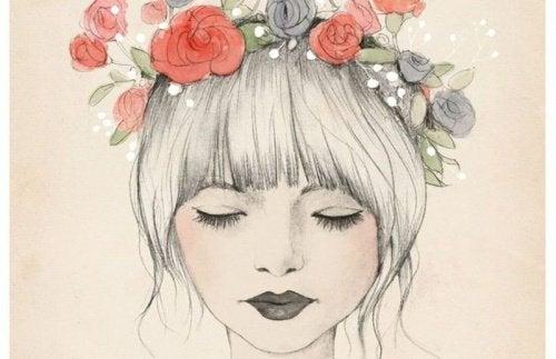 Pige med blomsterkrans