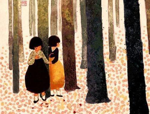 2 piger i skoven
