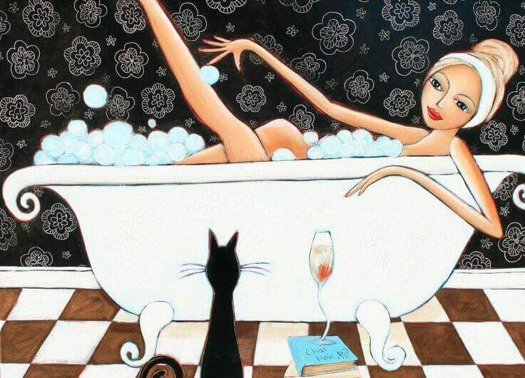 Kvinde der er i badekar