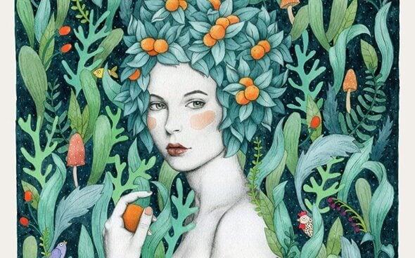 Kvinde med blade som haar