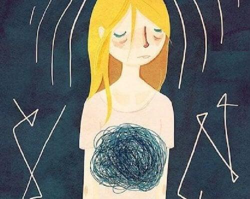 Tegning af pige med sort knude i maven