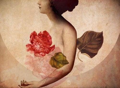 Kvinde og en blomst