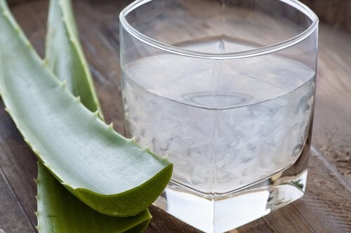 Glas med vand og aloe vera