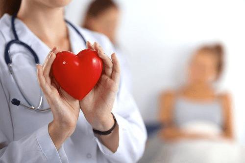 Læge holder hjerte