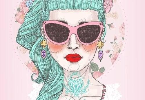 Tegning af kvinde med groent haar og store solbriller