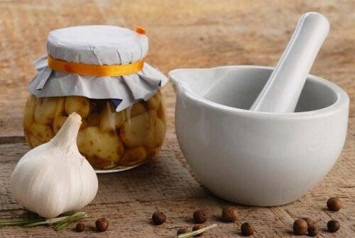 Hvidloeg og en morter - Hvidloegs honning