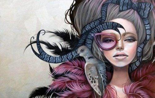 Tegning af kvinde med en fugl