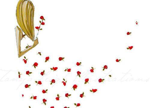 Pige og mange blomster