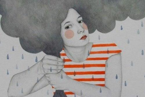Kvinde med en sky som haar