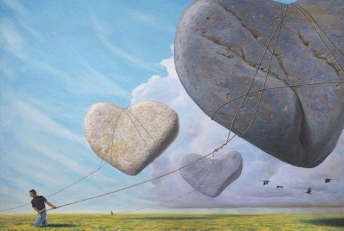Hjerter af sten der svaever