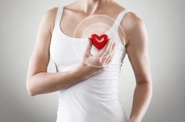 Kvinde der holder plastic hjerte