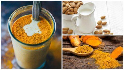 Anti-inflammatorisk gurkemeje, mandelmælks drik