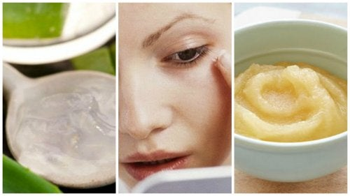 Hjemmelavet ansigtsmaske mod rynker med æble, vindruer og aloe vera