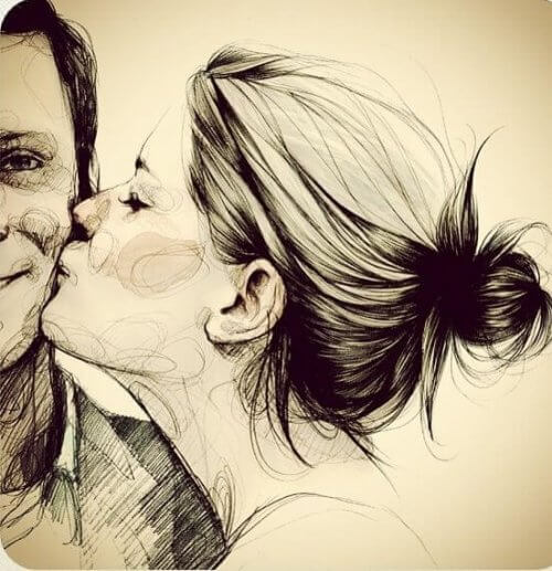 Tegning af en kvinde der kysser en mand