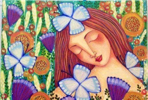 Pige og sommerfugle